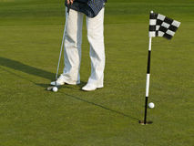 Golf training with ball and flag Stock Photo