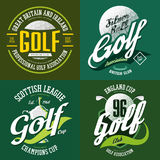 Golf trophy cup or bowl, ball for t-shirt print. Golf ball and trophy cup or bowl for champions or tournaments. T-shirt print sportswear design or cloth logo for Royalty Free Stock Photo