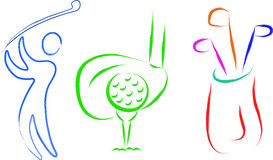 Golf ustalone rzeczy ilustracja wektor