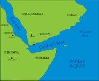Golf van Aden kaart Stock Afbeeldingen