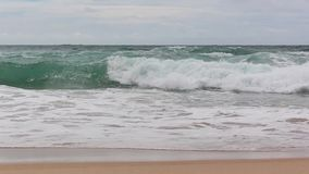 Golf van het overzees op het zandstrand stock footage