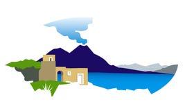 Golf van Napels met de illustratie van de Vesuvius Stock Afbeelding