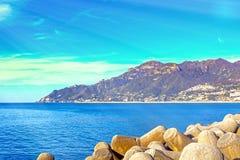 Golf van Salerno op de Thyrreense Zee royalty-vrije stock foto