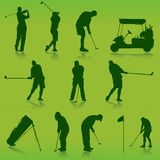 Golf vector. Collection of golf green vector Royalty Free Stock Photo
