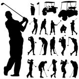 Golf vector. Set of golf silhouettes vector Royalty Free Stock Photography