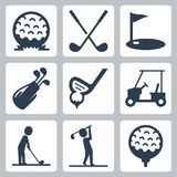 Golf vectorpictogrammen Royalty-vrije Stock Foto