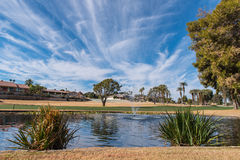 Golf water hazard with a fountain and trees. Trees around a golf water hazard with a fountain royalty free stock photos