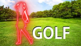 Golf 003 Woman Playing Silhuette. Red Neon - Green Background royalty free illustration