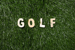 Golf Wooden Sign On Grass Stock Photos