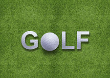 Golf word created from golf ball. And golf ball instead of O letter Stock Images
