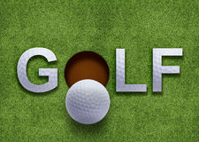 Golf word on green grass. And golf ball on lip of hole Stock Photo