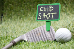 Golf wording term sign with golf ball are on green grass royalty free stock images