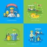 Golf 2x Flat Icons Stock Image