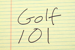 Golf 101 On A Yellow Legal Pad royalty free stock image