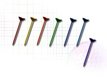 Golf1. Illustration of multi-colored golf tees on golfball/grid background Stock Photos