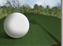 Golf3. Illustration of Golf Ball on Green with shadow of Flag and Hole in foreground Stock Image