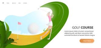 Golfaffisch med en kvinnlig golfspelare som slår bollen, golfbilen och flaggan på golfgräsmattan med text Turneringtema stock illustrationer