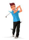 Golfare med en pinne sportar vektor illustrationer