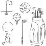 Golfare- och golfutrustning Royaltyfri Bild
