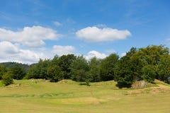 Golfare på Bowness på Cumbria för golfbana för Windermere golf mini- område för sjö en populär turist- aktivitet i sommar Royaltyfria Foton