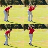 golfareföljdswing Royaltyfria Bilder