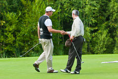 golfarehandshake arkivbild