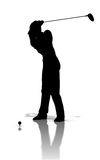 golfaresilhouette Royaltyfri Foto