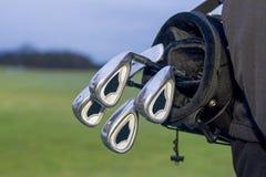 Golfbag med klubbor i påse Royaltyfria Foton
