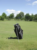 Golfbag near green Stock Image