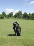 Golfbag near green stock image