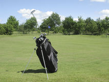 Golfbag near green Royalty Free Stock Photo