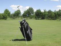 Golfbag near green royalty free stock photo