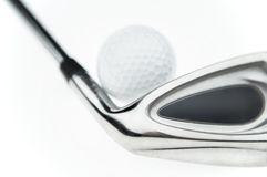 Golfbal & club stock foto