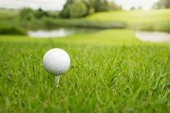 Golfbal bij de cursus Royalty-vrije Stock Foto