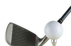 Golfbal en club Stock Foto