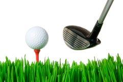 Golfbal en club royalty-vrije stock foto's