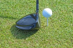 Golfbal en club in gras royalty-vrije stock afbeelding