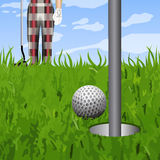 Golfbal en een gat royalty-vrije illustratie