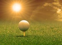 Golfbal en T-stuk op groen gras Stock Afbeeldingen