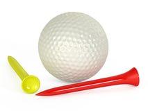 Golfbal en T-stukken Stock Foto's