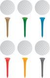 Golfbal en T-stukken Stock Illustratie