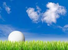 Golfbal, gras en blauwe hemel Stock Foto's