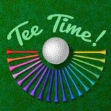 Golfbal met reeks van T-stuk Royalty-vrije Stock Afbeelding