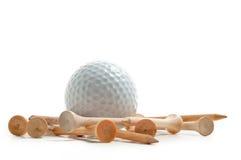 Golfbal met T-stukken Royalty-vrije Stock Foto