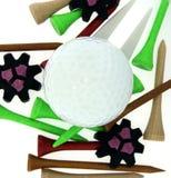 Golfbal met T-stukken en Cleats Stock Afbeelding