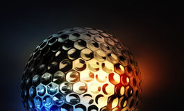 Golfbal op abstracte kleurrijke achtergrond Stock Afbeelding