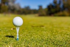 Golfbal op een T-stuk bij een Golfcursus stock foto's