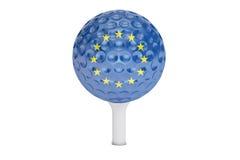 Golfbal op een T-stuk met vlag van de EU, het 3D teruggeven Royalty-vrije Stock Fotografie