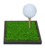 Golfbal op een T-stuk op Groen Gras Royalty-vrije Stock Afbeelding