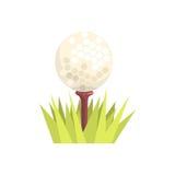Golfbal op een T-stukt-stuk in groen gras, van het het materiaalbeeldverhaal van de golfsport de vectorillustratie royalty-vrije illustratie